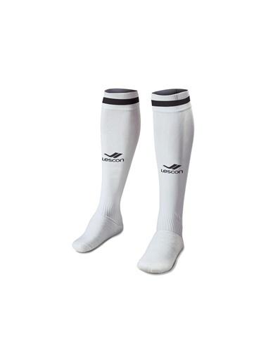 Lescon La-2172 Beyaz Siyah Futbol Çorabı 36-39 Numara Beyaz